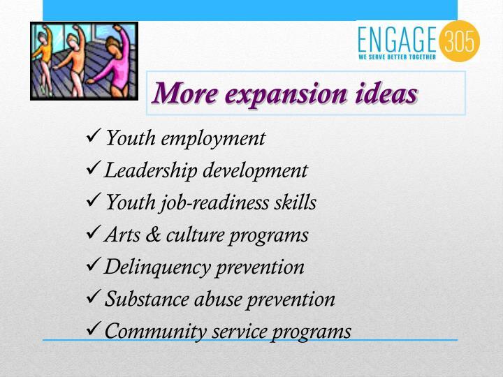 More expansion ideas