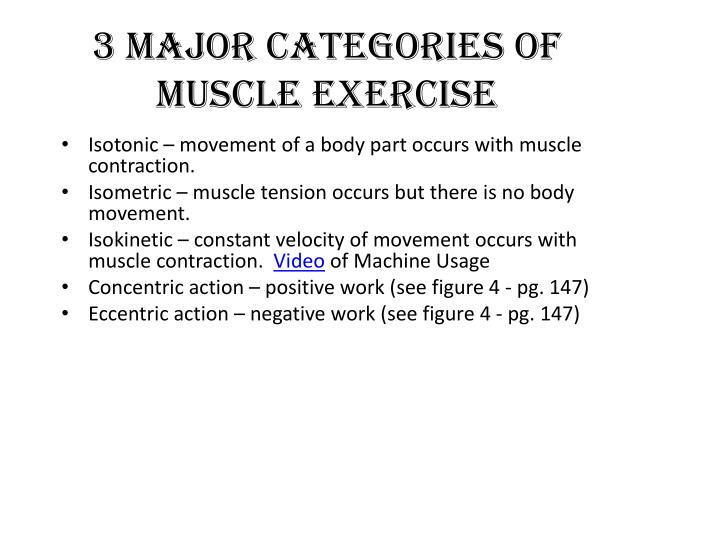 3 major categories of muscle exercise