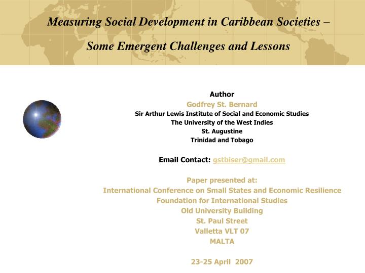 measuring social development in caribbean societies some emergent challenges and lessons n.
