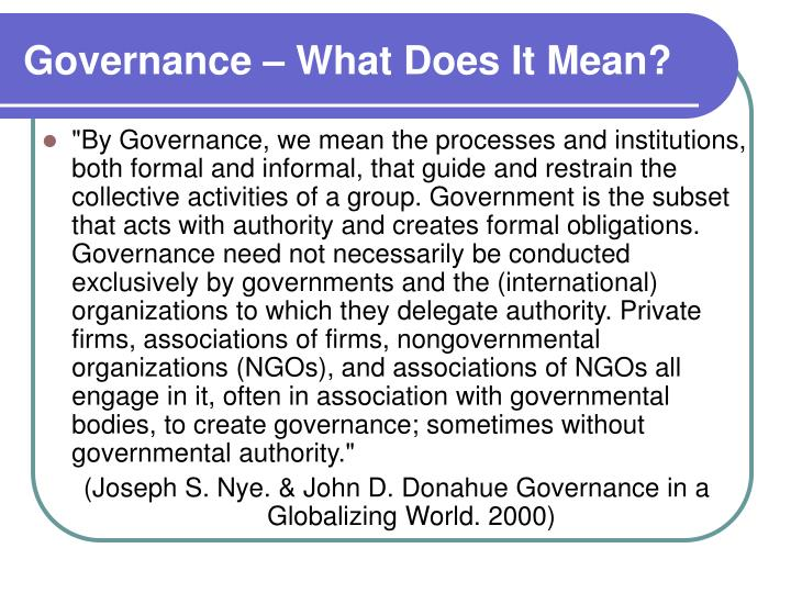 Governance – What Does It Mean?