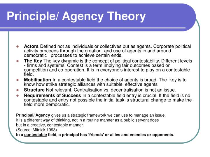 Principle/ Agency Theory