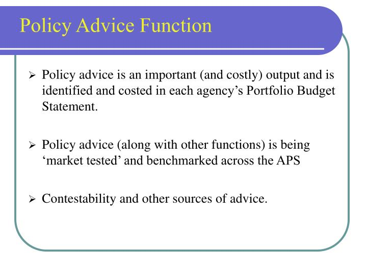 Policy Advice Function