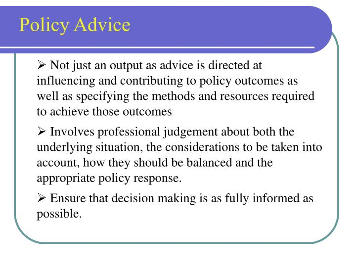 Policy Advice