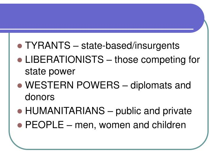 TYRANTS – state-based/insurgents
