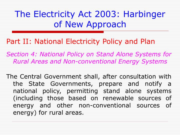 Electricity Act 2003 And Renewable Energy
