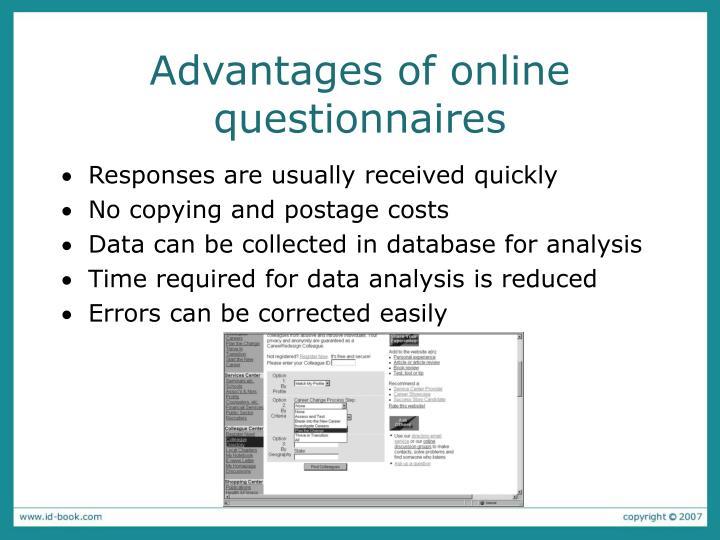 Advantages of online questionnaires