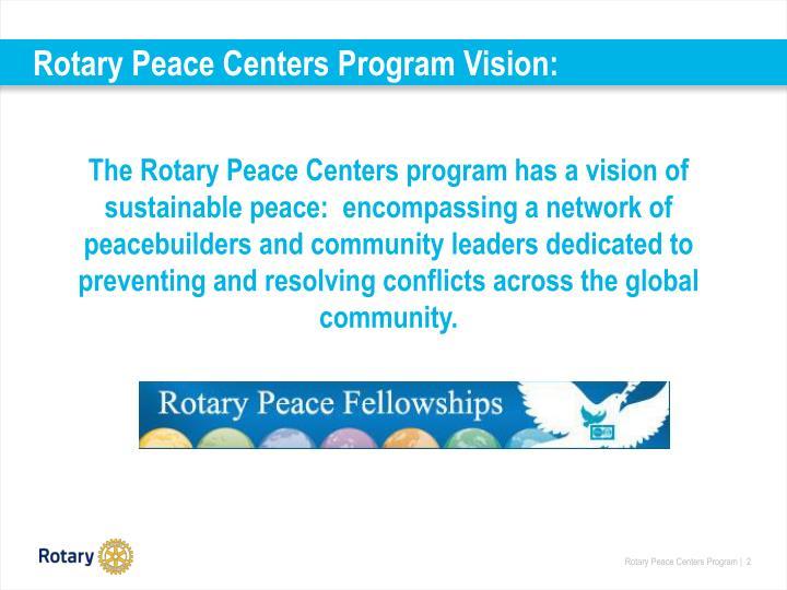 Rotary peace centers program vision