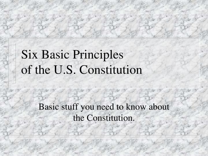the basic principles of the constitution from a religious and political perspectives How the constitution empowers the government to control the governed but at the same time obliges government to control itself pop = people sovereignty = rule the people vote [a republic] officials accountable to people embodied in phrases, we the people, and from the consent of the governed.