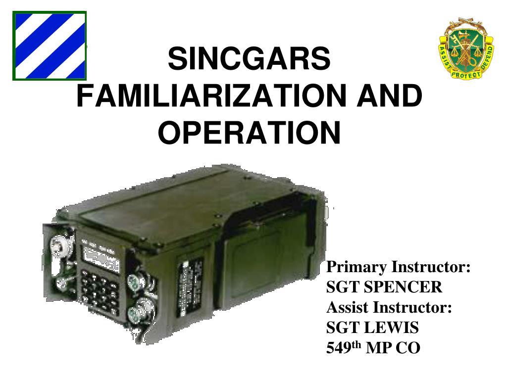 Ppt Sincgars Familiarization And Operation Powerpoint Presentation Free Download Id 1796712
