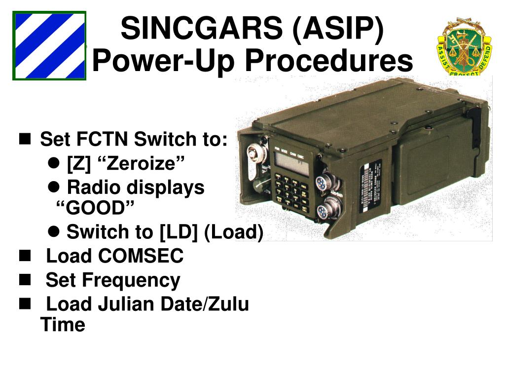 PPT - SINCGARS FAMILIARIZATION AND OPERATION PowerPoint