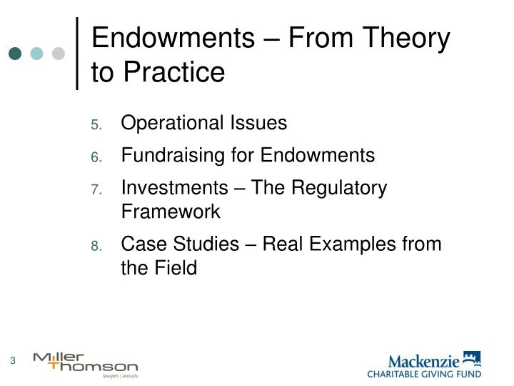 Endowments from theory to practice1