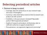 selecting periodical articles