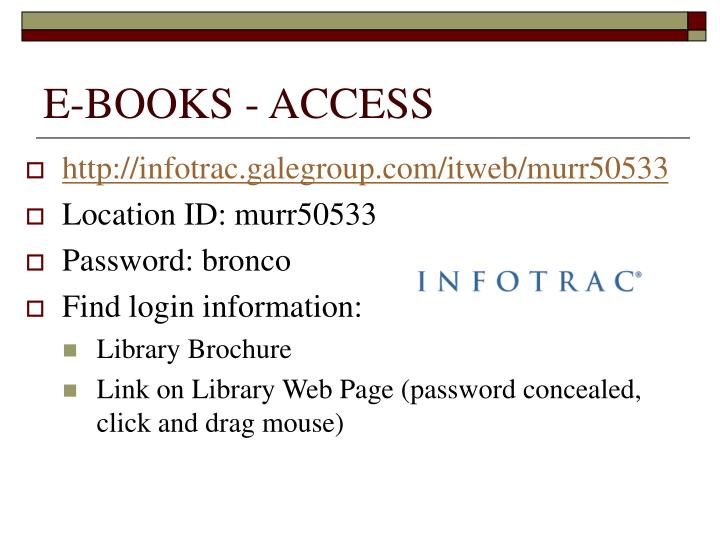 E-BOOKS - ACCESS