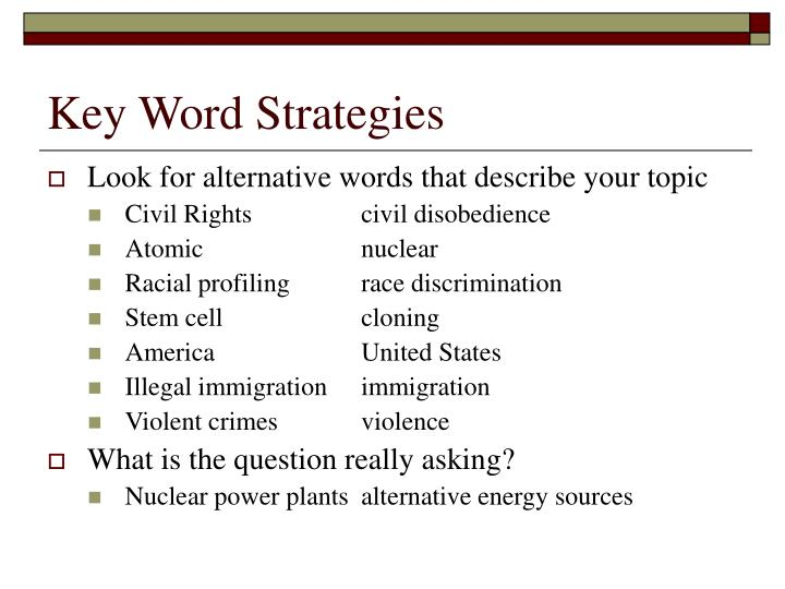 Key Word Strategies