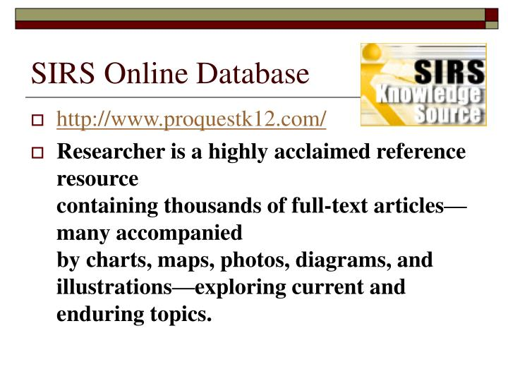 SIRS Online Database
