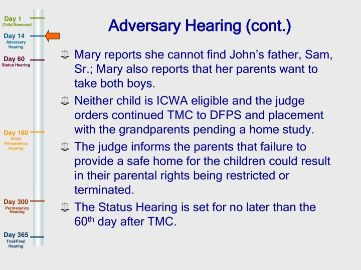 Adversary Hearing (cont.)