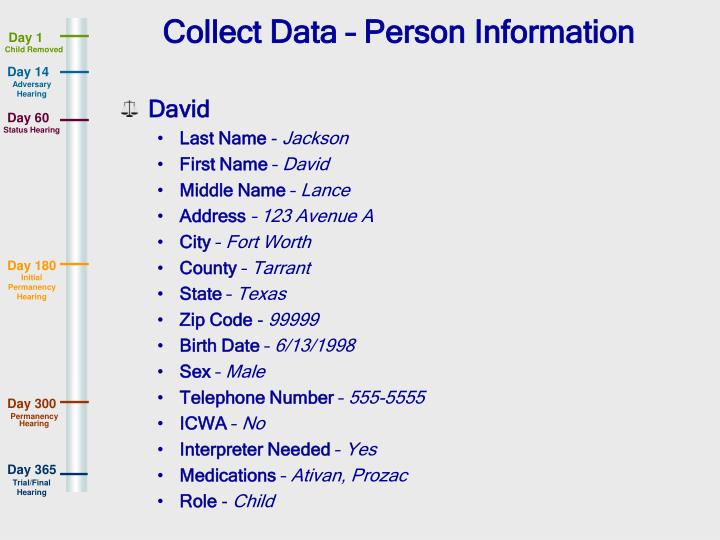 Collect Data – Person Information