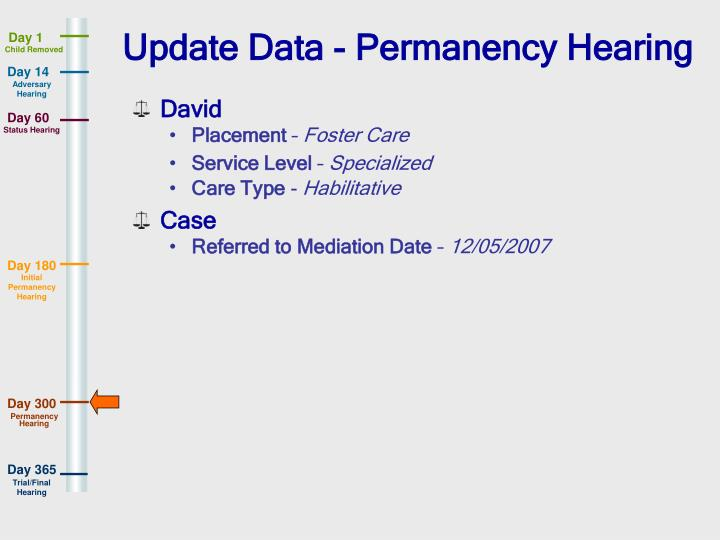 Update Data - Permanency Hearing