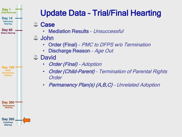 Update Data – Trial/Final Hearting