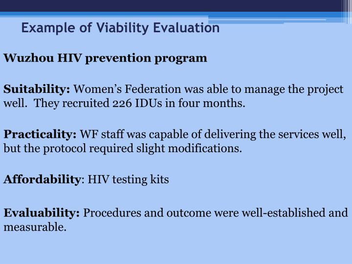 Example of Viability Evaluation