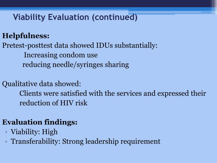 Viability Evaluation (continued)