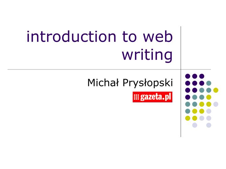 introduction to web writing n.
