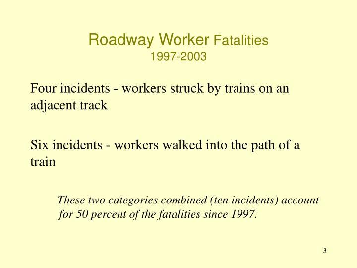 Roadway worker fatalities 1997 2003