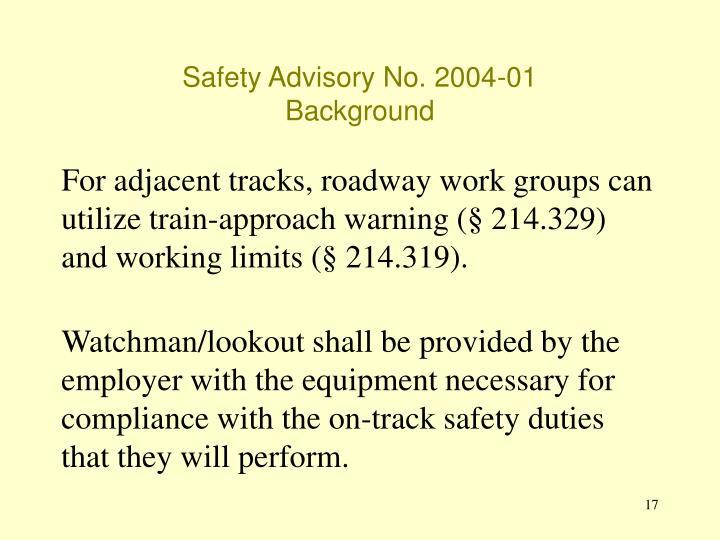 Safety Advisory No. 2004-01