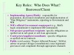 key roles who does what borrower client