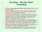 key roles who does what world bank