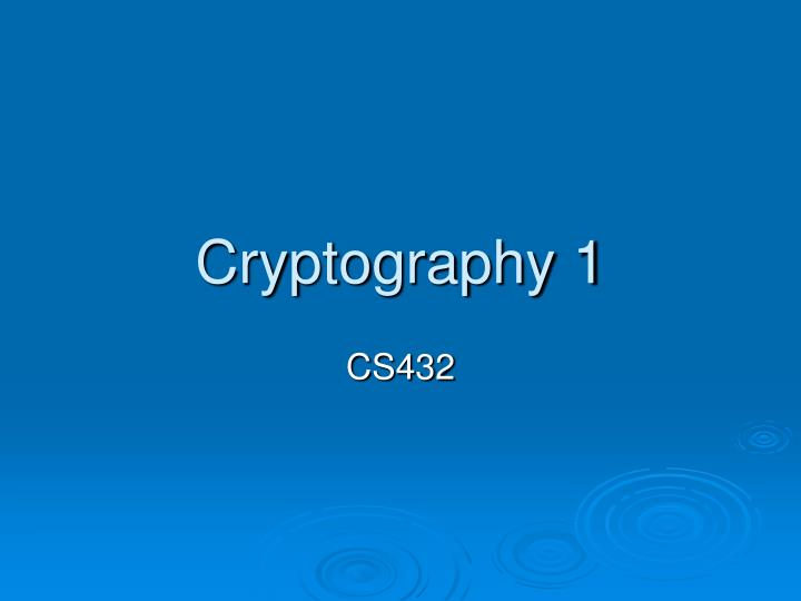 cryptography 1 n.