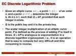 ec discrete logarithmic problem