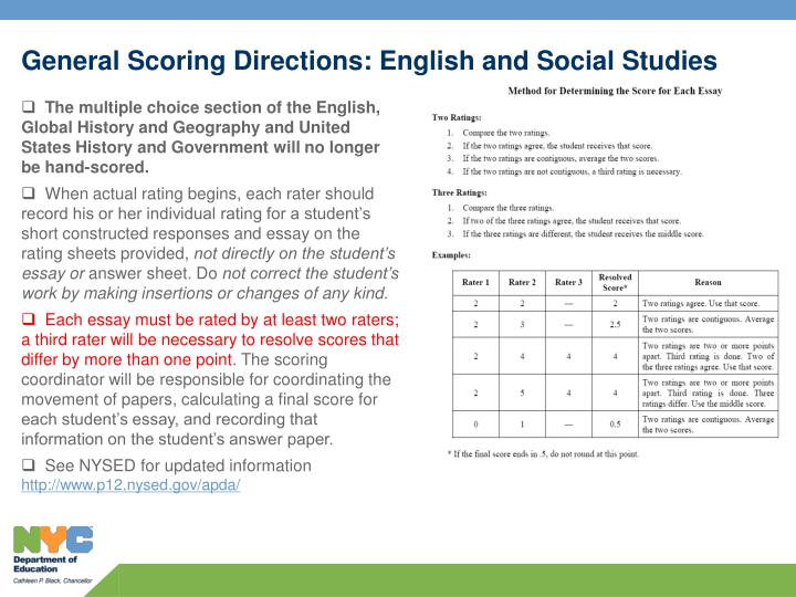 General Scoring Directions: English and Social Studies