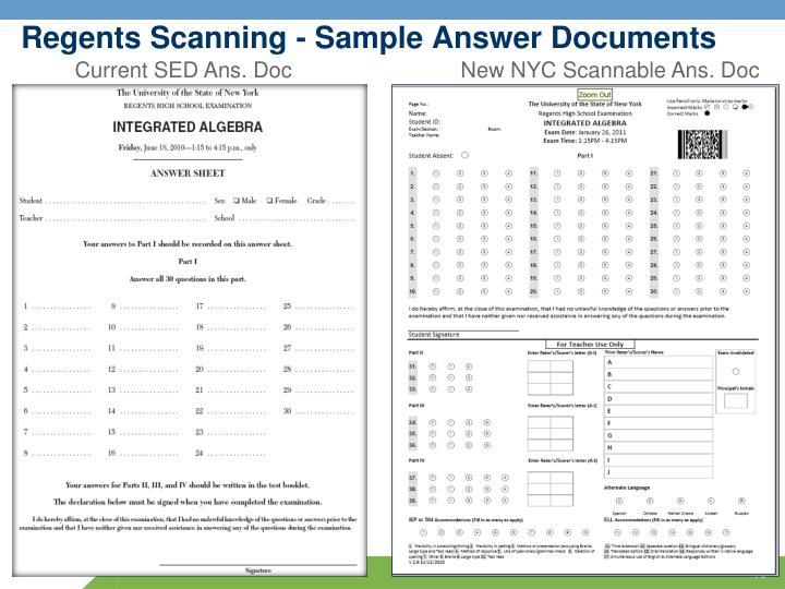 Regents Scanning - Sample Answer Documents