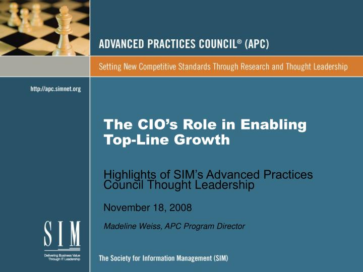 the cio s role in enabling top line growth n.