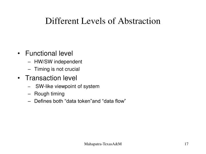 Different Levels of Abstraction