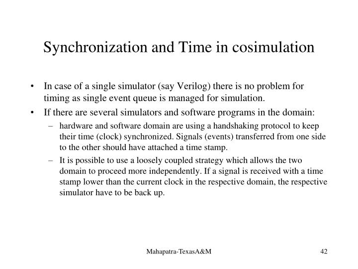 Synchronization and Time in cosimulation