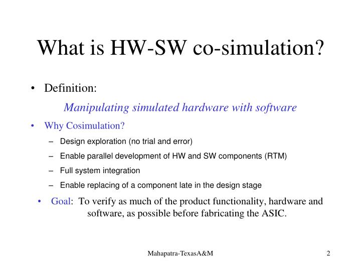 What is hw sw co simulation