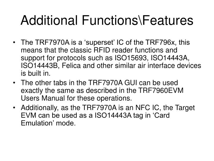 Additional Functions\Features