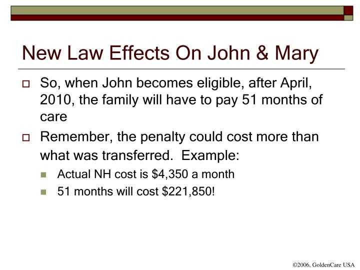 New Law Effects On John & Mary