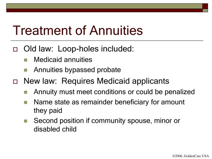 Treatment of Annuities