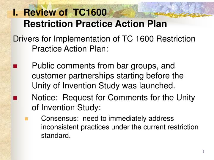 i review of tc1600 restriction practice action plan n.