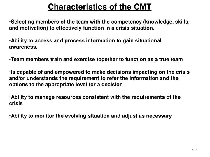 Characteristics of the CMT