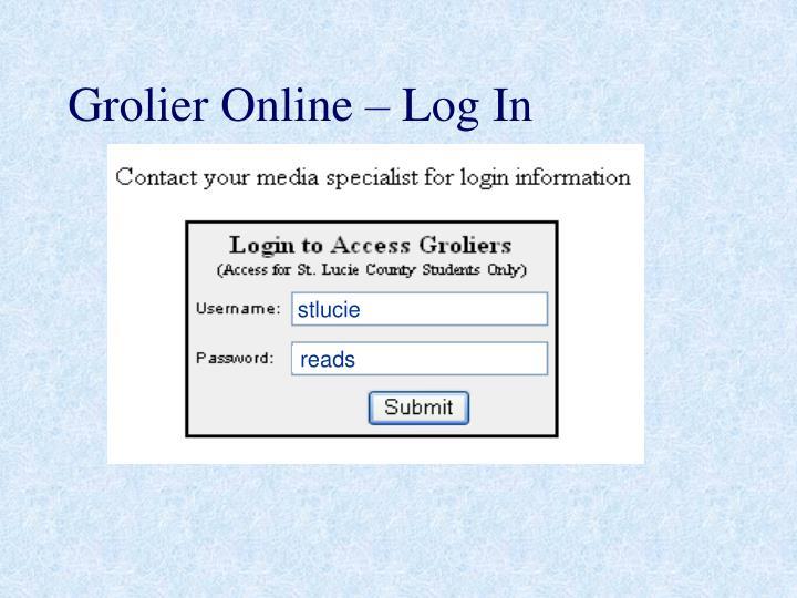 Grolier online log in