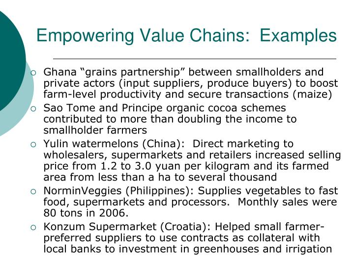 Empowering Value Chains:  Examples