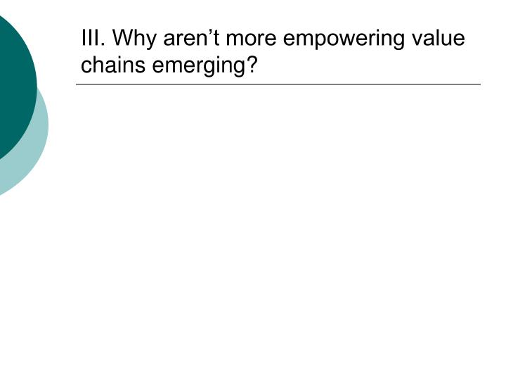 III. Why aren't more empowering value chains emerging?
