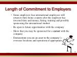 length of commitment to employers