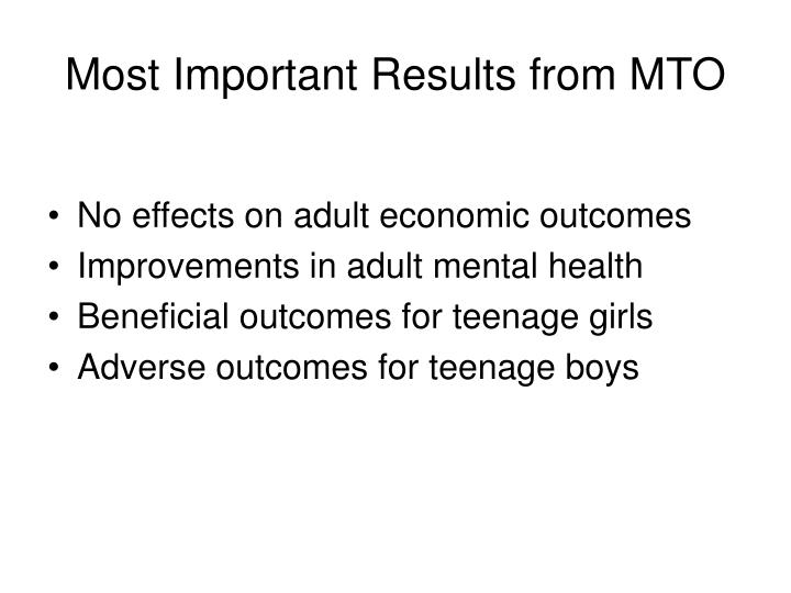 Most Important Results from MTO