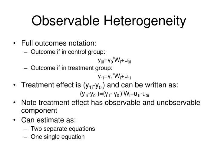 Observable Heterogeneity