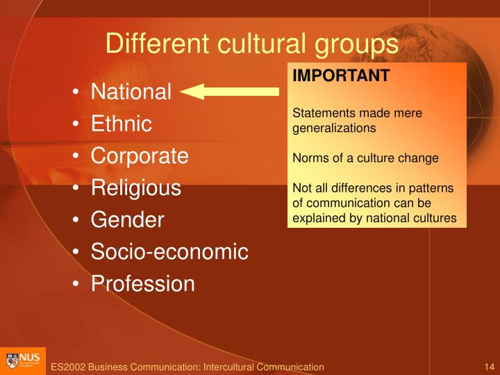 Different cultural groups
